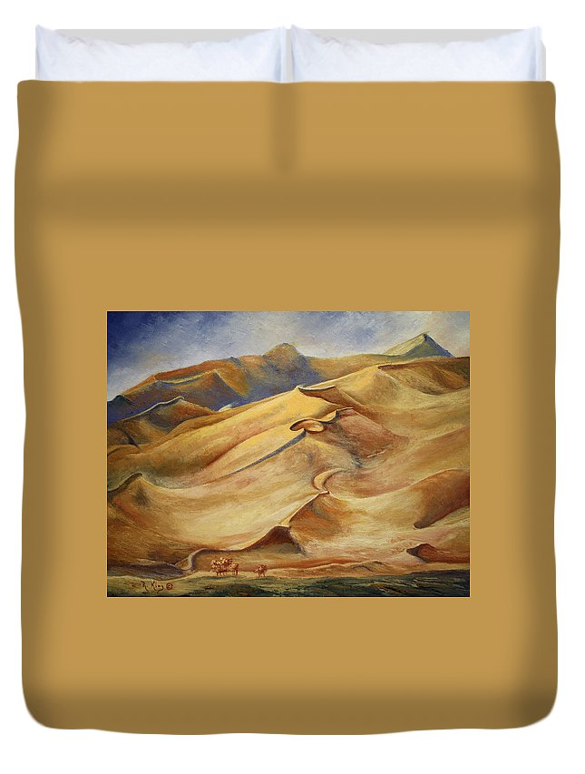 Roena King Duvet Cover featuring the painting Sand Dunes by Roena King