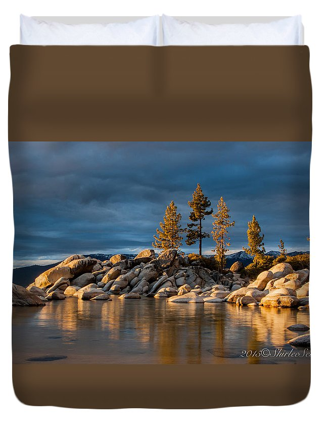 Sand Harbor Duvet Cover featuring the photograph Award-winning, Sand Harbor Light by Shirlee Severs