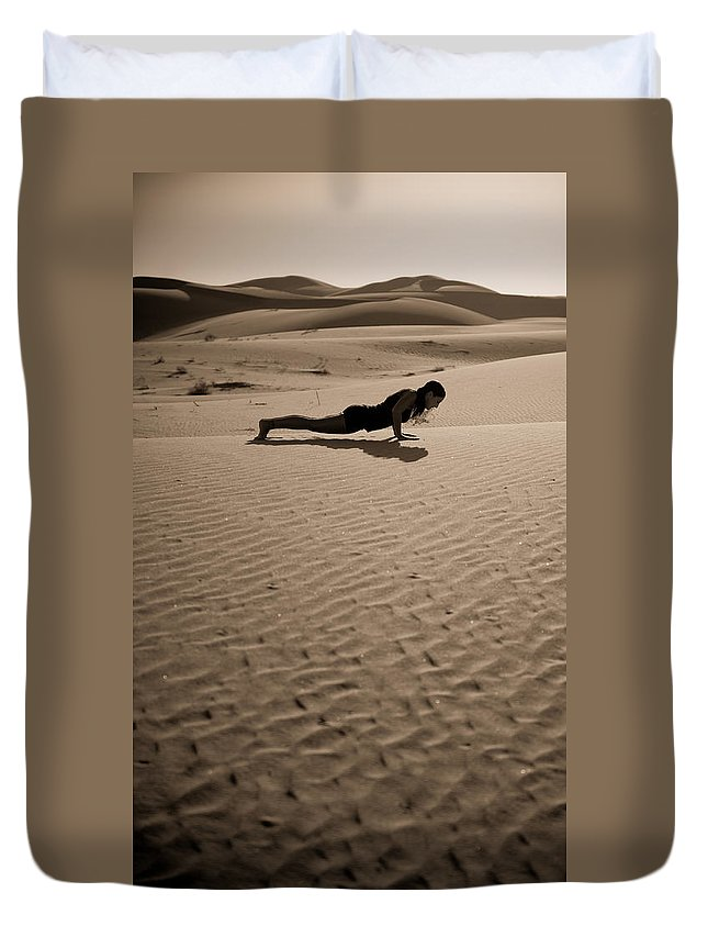 Yoga Duvet Cover featuring the photograph Sand Plank by Scott Sawyer