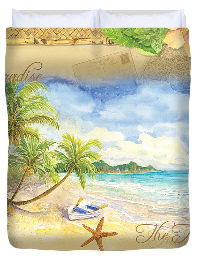 Woven Mat Duvet Cover featuring the painting Sand Sea Sunshine On Tropical Beach Shores by Audrey Jeanne Roberts