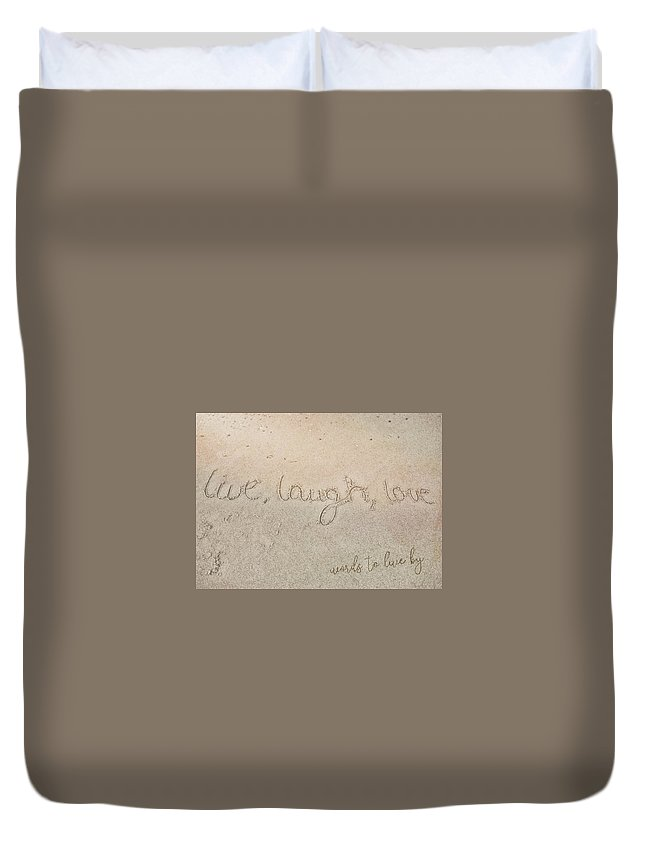 Sand Duvet Cover featuring the photograph Sand Texting Quote by JAMART Photography