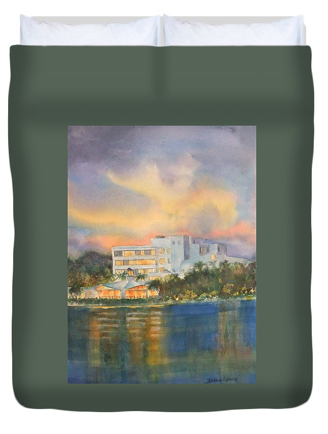 Sandcastle Hotel In Clearwater Florida Duvet Cover featuring the painting Sandcastle Retreat by Debbie Lewis