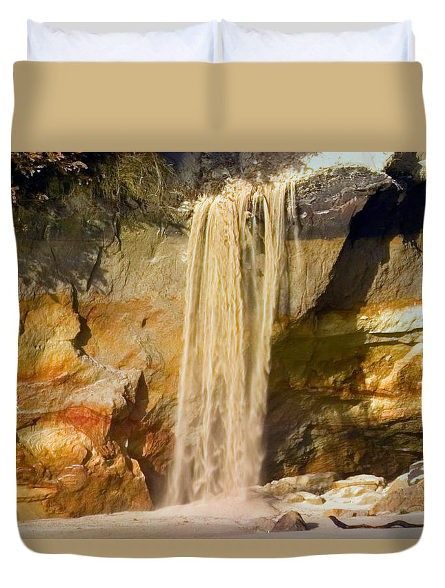 Sandfall Duvet Cover featuring the photograph Sandfall by Randall Ingalls