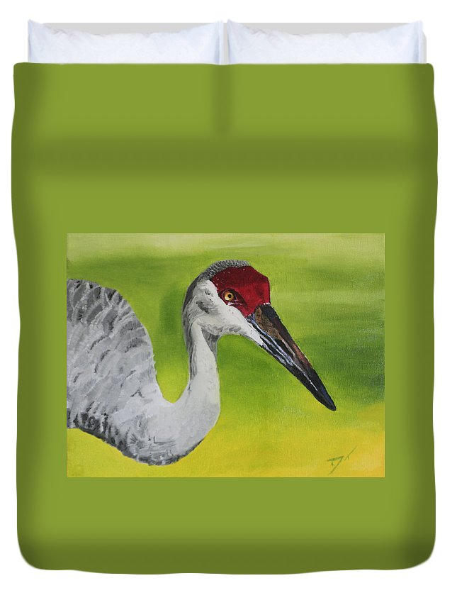 Bird Duvet Cover featuring the painting Sandhill Crane by D Turner