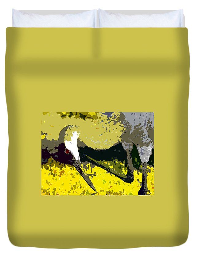 Sand Hill Crane Duvet Cover featuring the painting Sandhill Scratching by David Lee Thompson