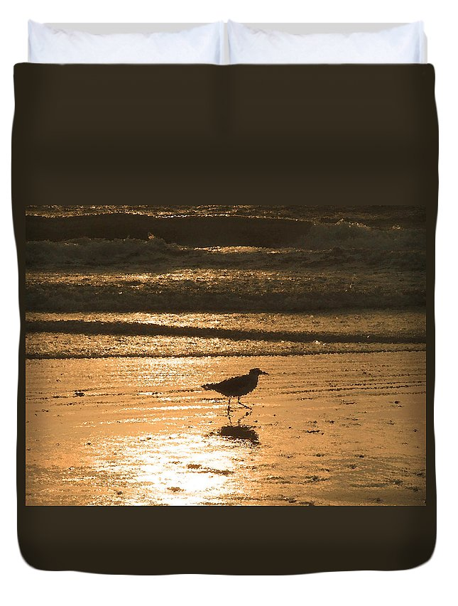 Nature Duvet Cover featuring the photograph Sandpiper by Peg Urban