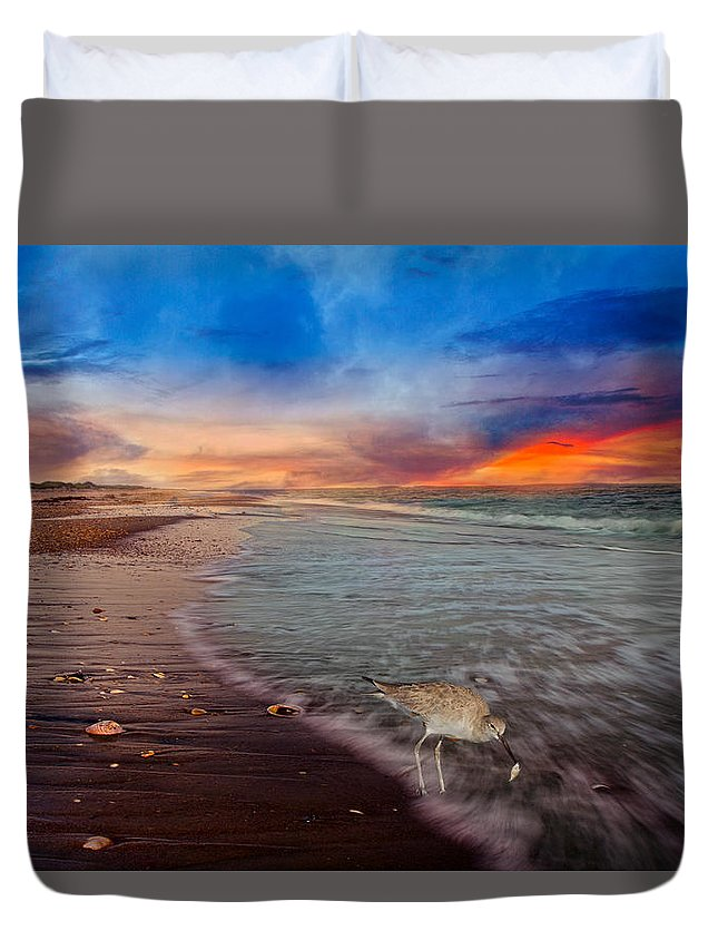 Shackleford Duvet Cover featuring the photograph Sandpiper Sunrise by Betsy Knapp