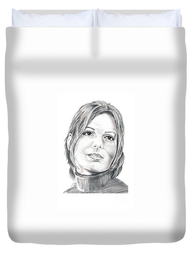 Drawing Duvet Cover featuring the drawing Sandra Bullock by Murphy Elliott