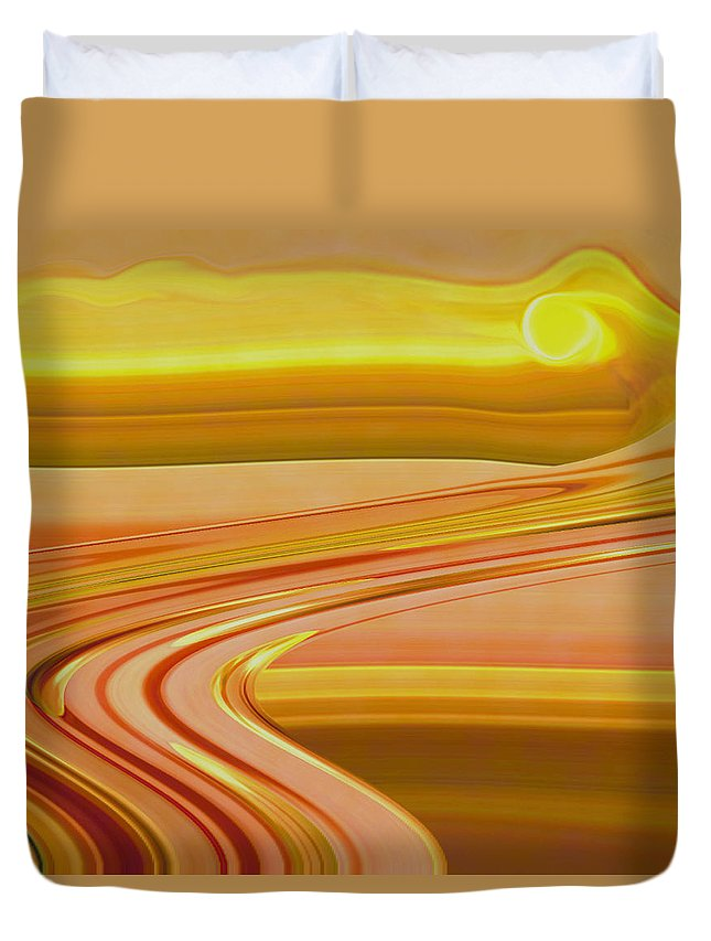 Sunset Art Duvet Cover featuring the digital art Sands Of Time by Linda Sannuti