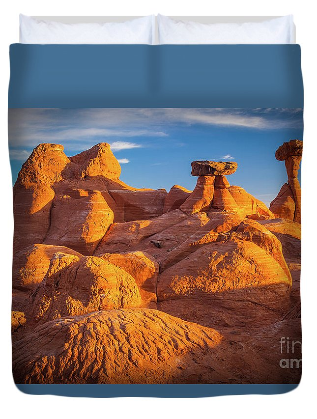 America Duvet Cover featuring the photograph Sandstone Castle by Inge Johnsson