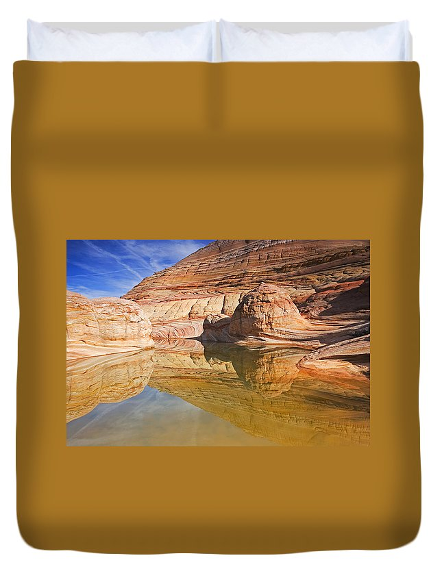Pool Duvet Cover featuring the photograph Sandstone Illusions by Mike Dawson