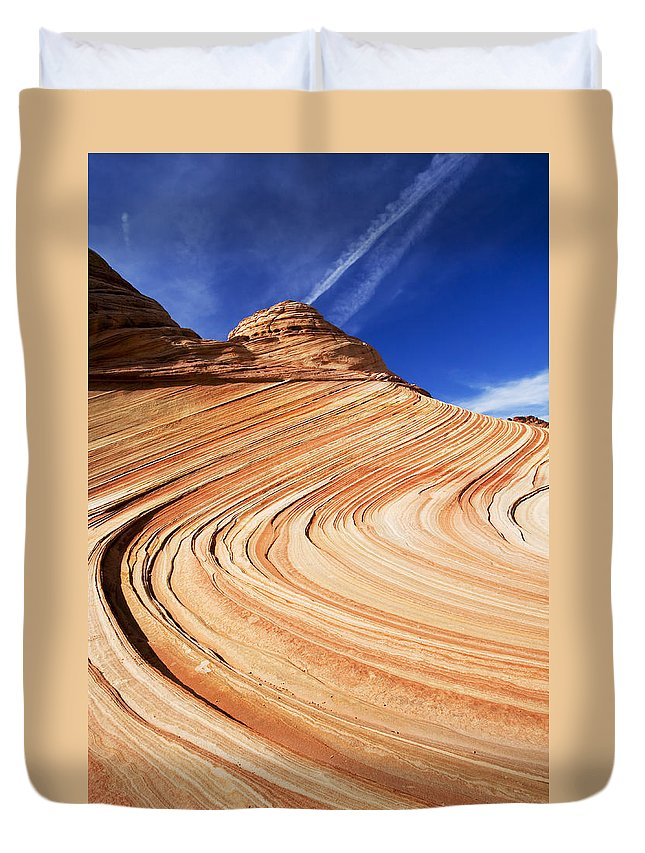 The Wave Duvet Cover featuring the photograph Sandstone Slide by Mike Dawson