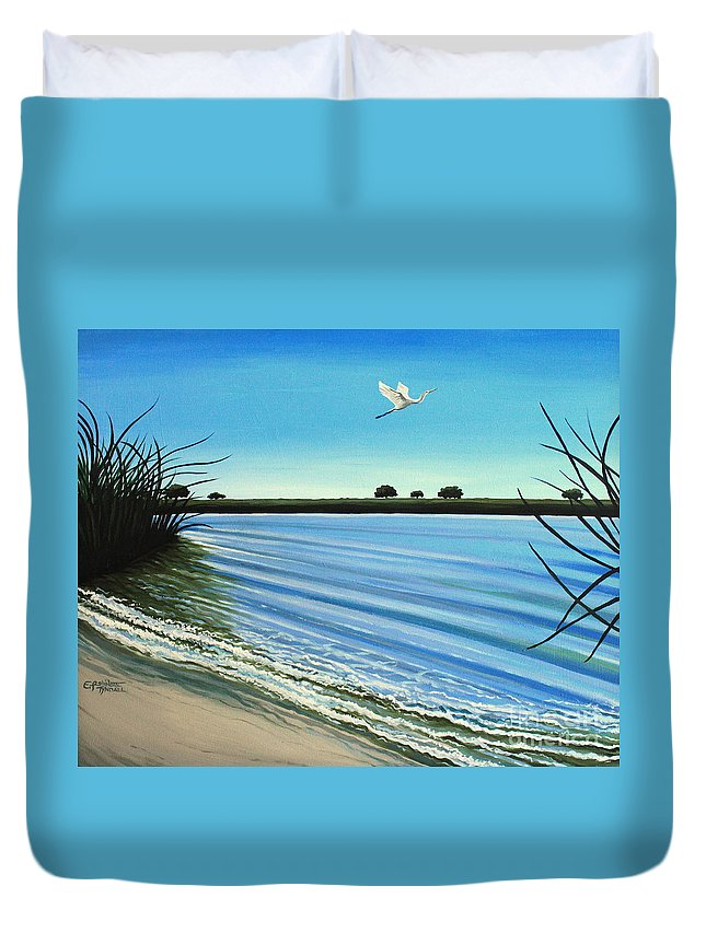 Beach Duvet Cover featuring the painting Sandy Beach by Elizabeth Robinette Tyndall