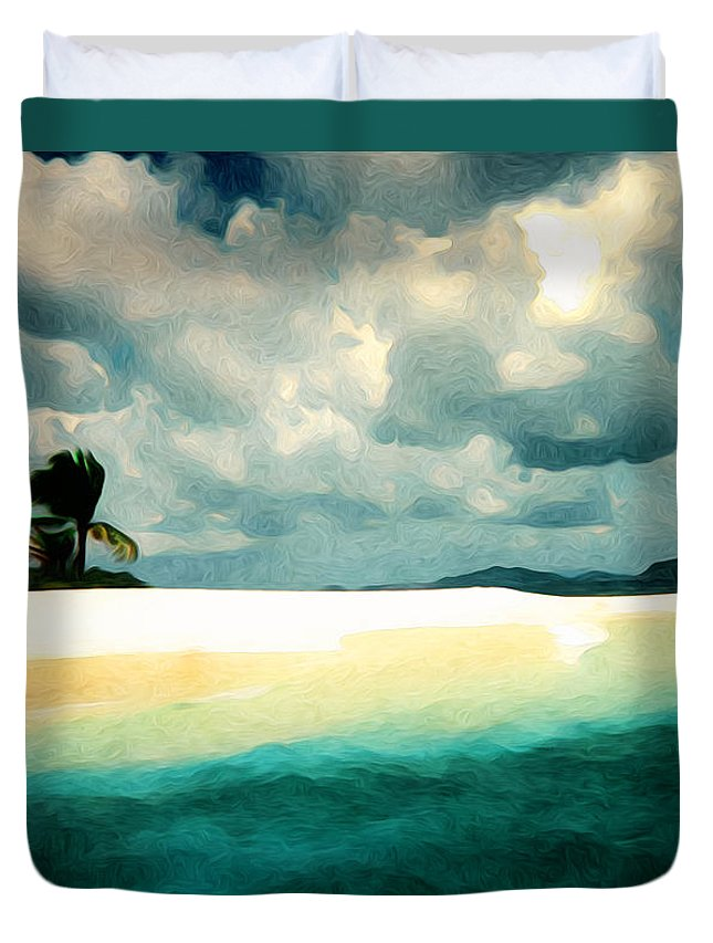 Island Duvet Cover featuring the digital art Sandy Cay by Phil Perkins