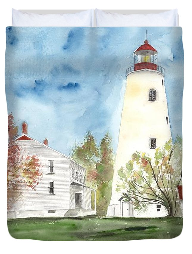 Watercolor Duvet Cover featuring the painting Sandy Hook Lighthouse by Derek Mccrea