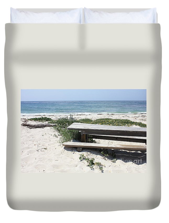 Picnic Table Duvet Cover featuring the photograph Sandy Picnic Table by Carol Groenen