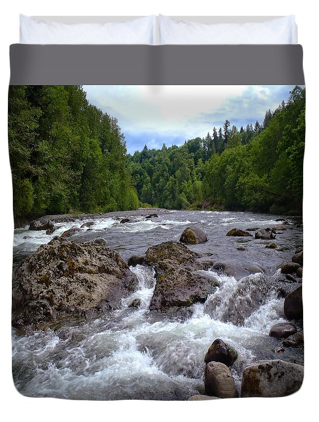 Columbia Gorge Duvet Cover featuring the photograph Sandy River by Ingrid Smith-Johnsen
