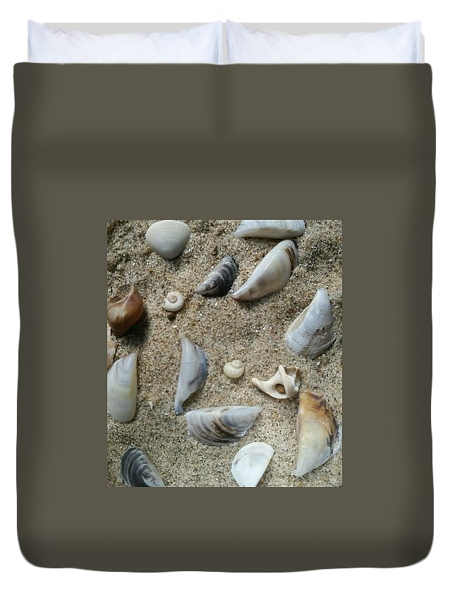Sand Duvet Cover featuring the photograph Sandy Seashells by Mayra Alvarez