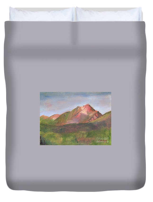 Colorado Duvet Cover featuring the painting Sangres I by Lilibeth Andre