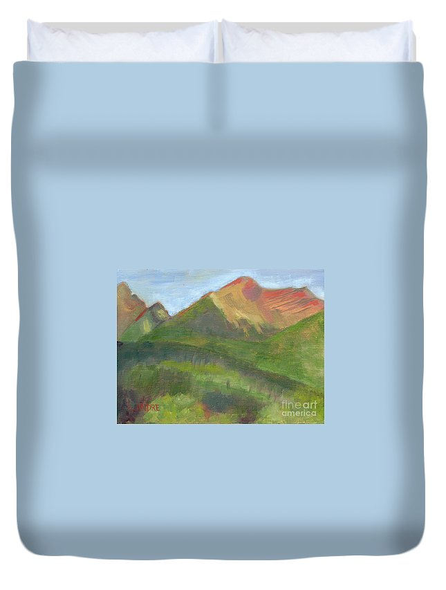 Colorado Duvet Cover featuring the painting Sangres II by Lilibeth Andre