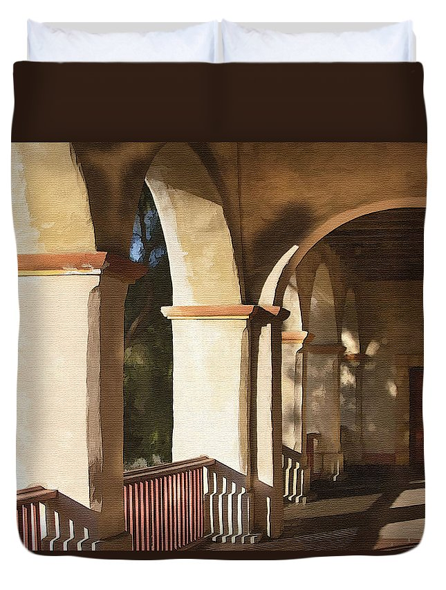 Mission Duvet Cover featuring the photograph Santa Barbara Mission by Sharon Foster