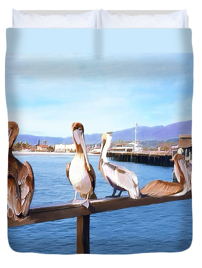 Harbor Duvet Cover featuring the photograph Santa Barbara Pelicans by Kurt Van Wagner