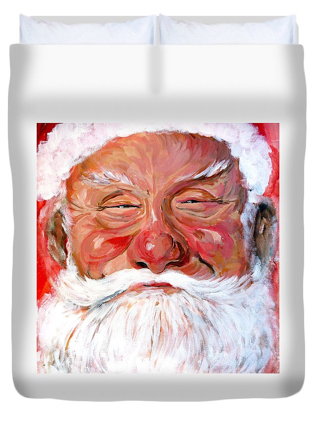 Santa Duvet Cover featuring the painting Santa Claus by Tom Roderick
