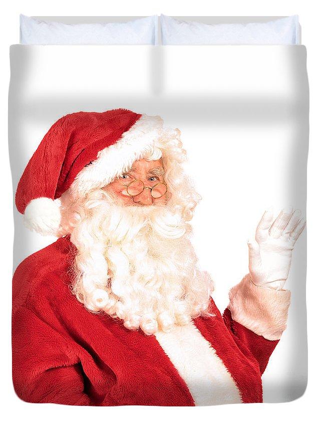 Santa Claus Duvet Cover featuring the photograph Santa Claus Waving Hand by Amanda Elwell