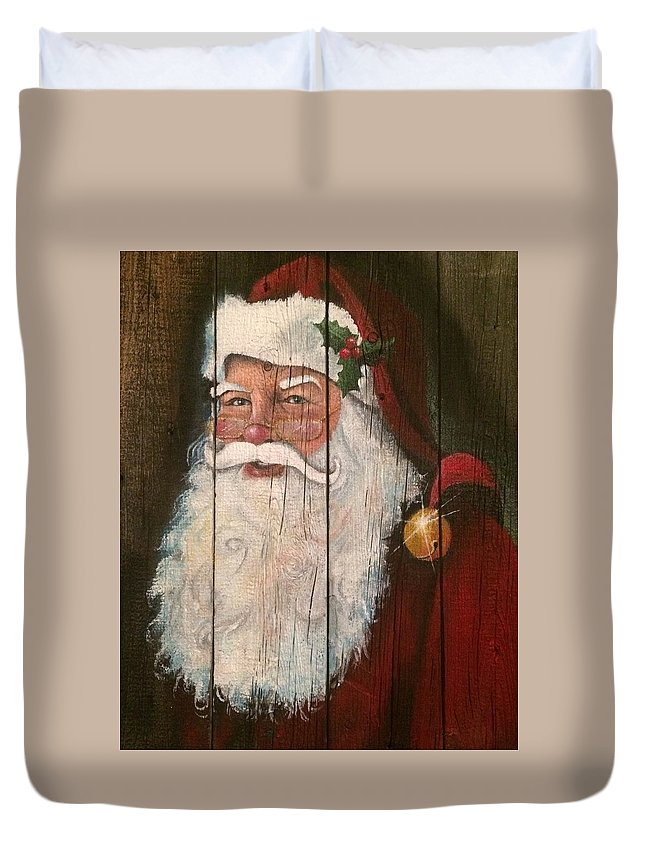 Portraits Duvet Cover featuring the painting Santa Clause by Alicia Doerksen