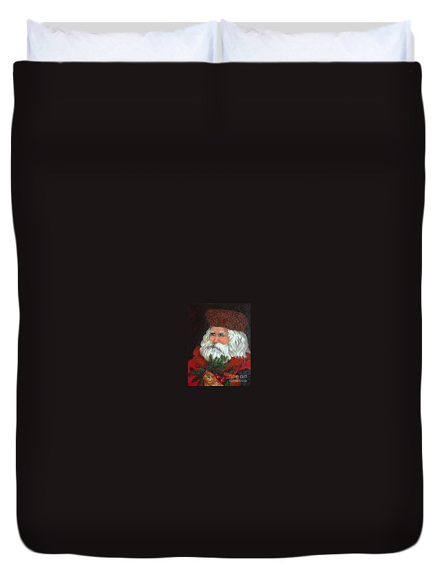 Santa Duvet Cover featuring the painting Santa by Enzie Shahmiri
