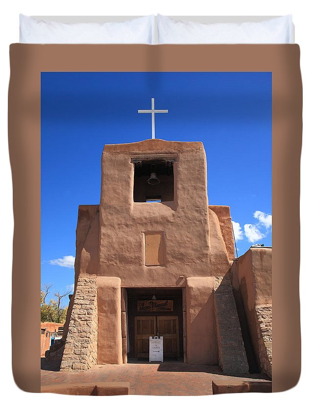 66 Duvet Cover featuring the photograph Santa Fe - San Miguel Chapel by Frank Romeo