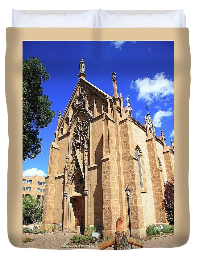 Fine Duvet Cover featuring the photograph Santa Fe Church by Frank Romeo