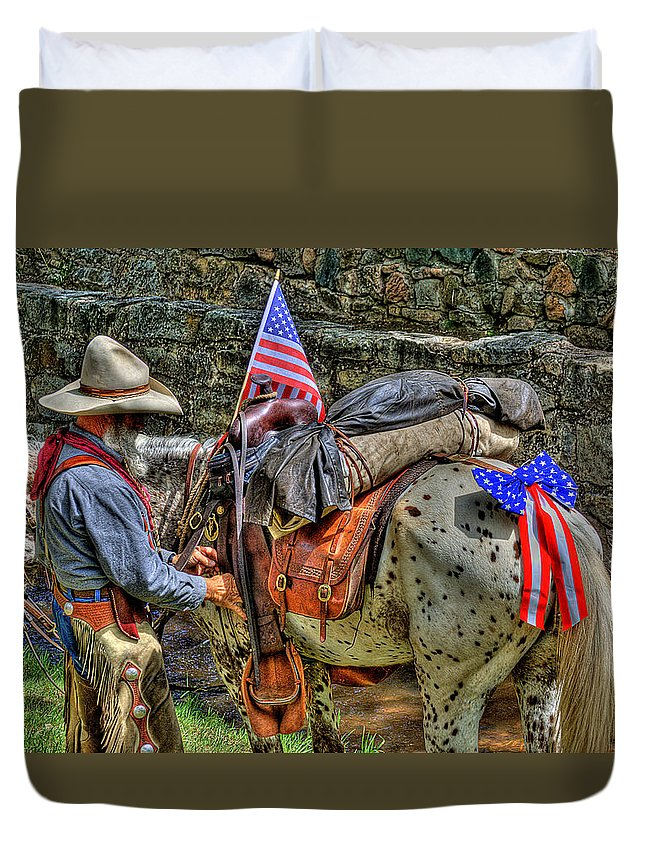Santa Fe Cowboy Duvet Cover featuring the photograph Santa Fe Cowboy by David Patterson