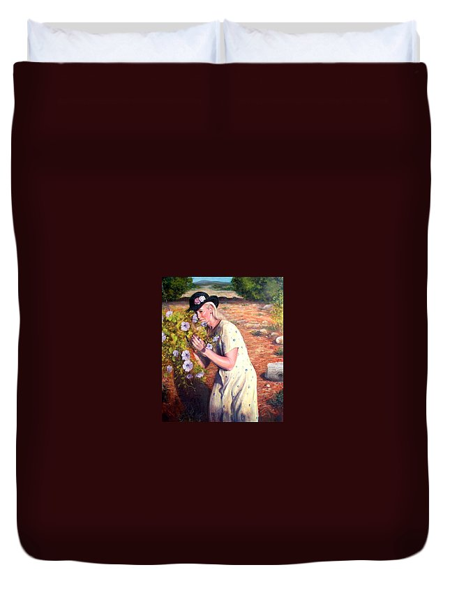 Realism Duvet Cover featuring the painting Santa Fe Garden 2  by Donelli DiMaria