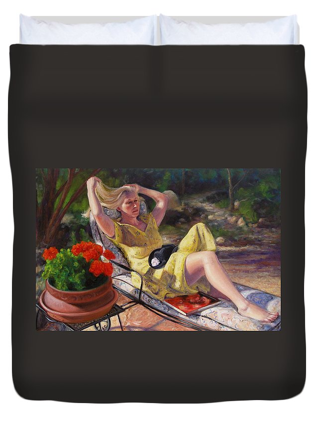 Realism Duvet Cover featuring the painting Santa Fe Garden 4 by Donelli DiMaria