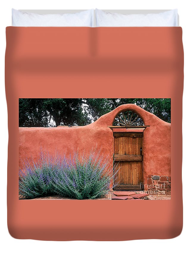 Adobe Duvet Cover featuring the photograph Santa Fe Gate No. 2 - Rustic Adobe Antique Door Home Country by Jon Holiday