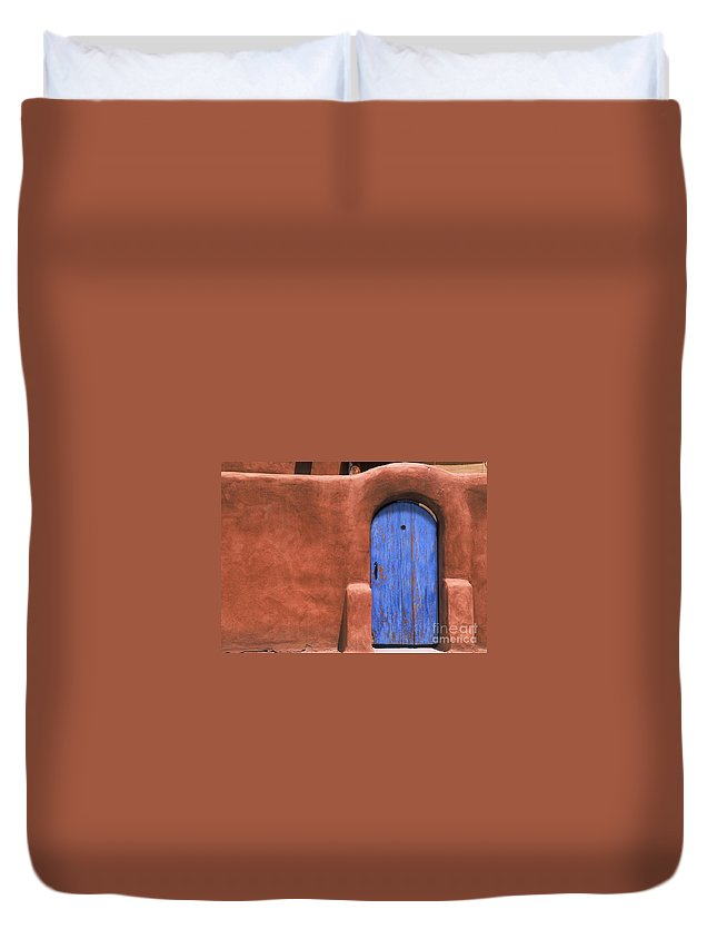Adobe Duvet Cover featuring the photograph Santa Fe Gate No. 3 - Rustic Adobe Antique Door Home Country Southwest by Jon Holiday