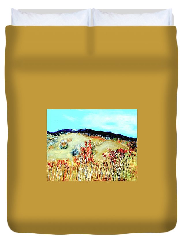 Landscape Duvet Cover featuring the painting Santa Fe by Michael Moseley