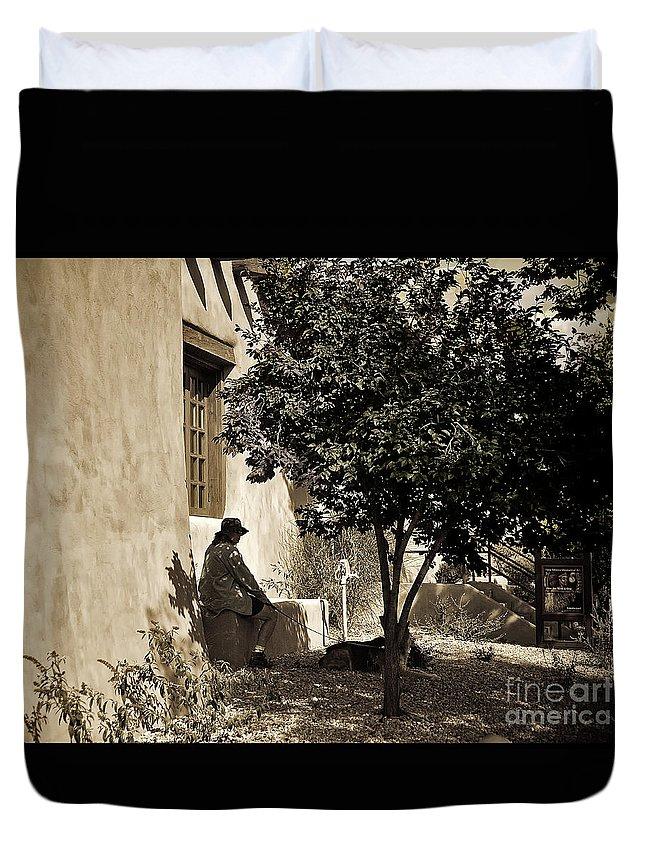 Santa Fe Duvet Cover featuring the photograph Santa Fe Woman by Madeline Ellis