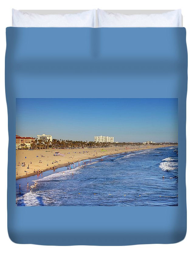 Santa Duvet Cover featuring the photograph Santa Monica Beach by Ricky Barnard