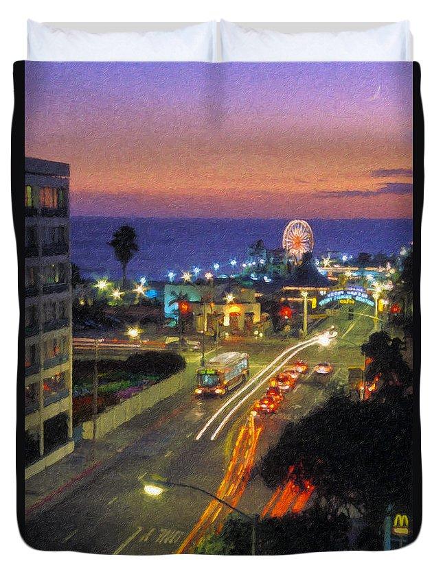 Santa Monica Ca Duvet Cover featuring the photograph Santa Monica Ca Pacific Park Pier Sunset by David Zanzinger