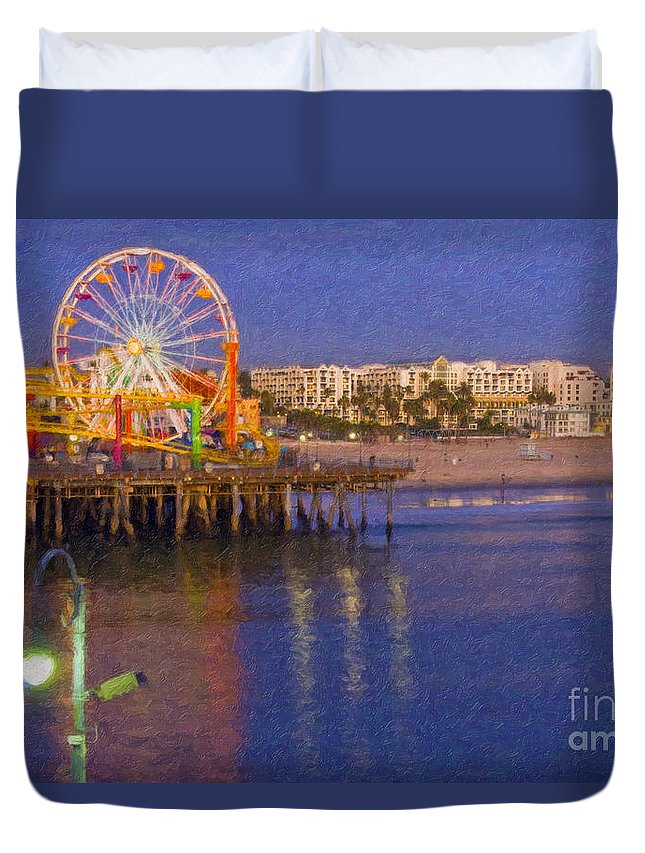 Santa Monica Duvet Cover featuring the photograph Santa Monica Pacific Park Pier And Lowes Hotel by David Zanzinger