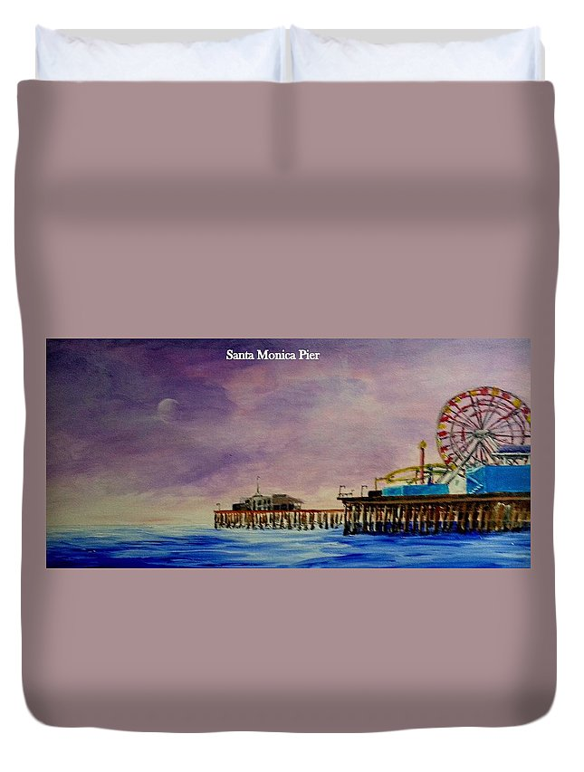 Greeting Card Duvet Cover featuring the painting Santa Monica Pier At Night by Irving Starr