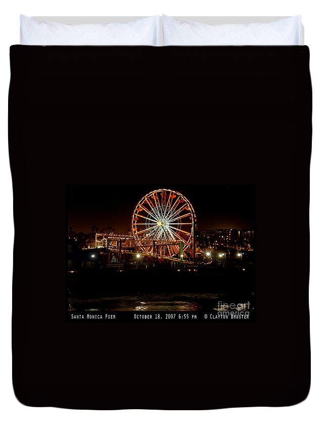 Clay Duvet Cover featuring the photograph Santa Monica Pier October 18 2007 by Clayton Bruster