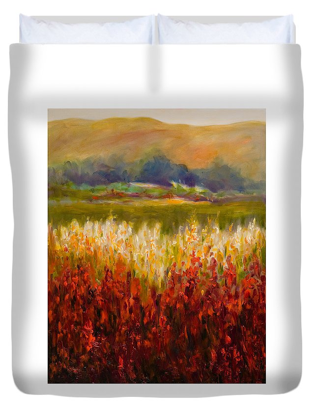 Landscape Duvet Cover featuring the painting Santa Rosa Valley by Shannon Grissom