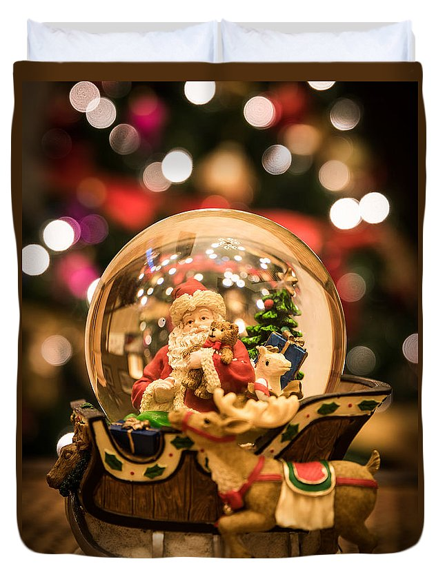 Christmas Duvet Cover featuring the photograph Santa Snow Globe by AMB Fine Art Photography