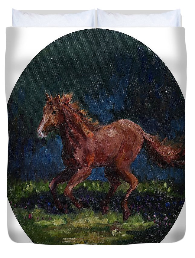 American Mustang Duvet Cover featuring the painting Santana by Joe Geare