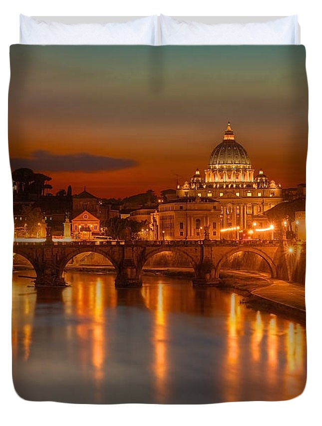 Sant'angelo Bridge Duvet Cover featuring the photograph Sant'angelo Bridge by Peter Kennett