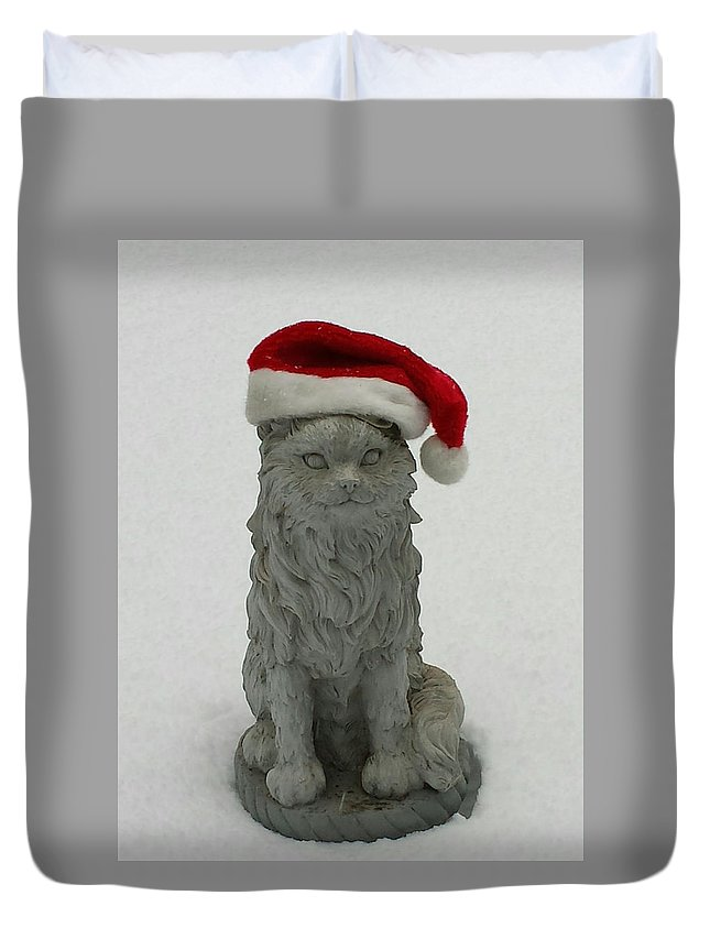 Christmas Duvet Cover featuring the photograph Santa's Little Helper by Catherine Berryman