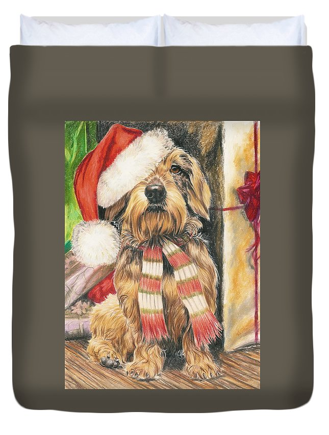 Hound Group Duvet Cover featuring the drawing Santas Little Yelper by Barbara Keith